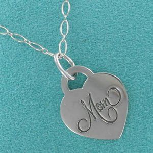 "Tiffany Heart MOM Pendant Necklace 21"" oval Chain"
